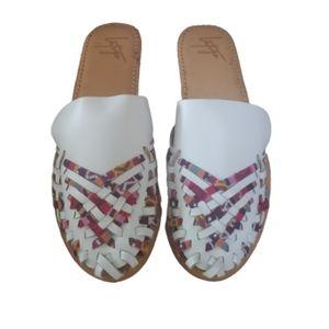 Anthro Latigo Hibiscus leather huarache sandals